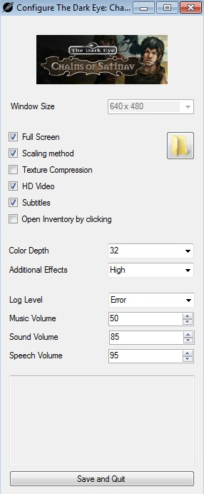 Video and Audio settings