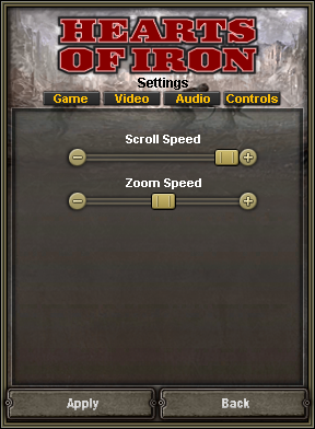 In-game control settings.