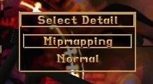 Detail levels menu.