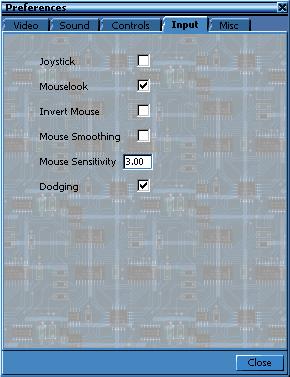 In-game control settings.