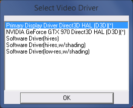 Video driver selection.