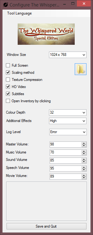 Visionaire Configuration Tool from Special Edition. Original versions tool only features windowed or fullscreen option.