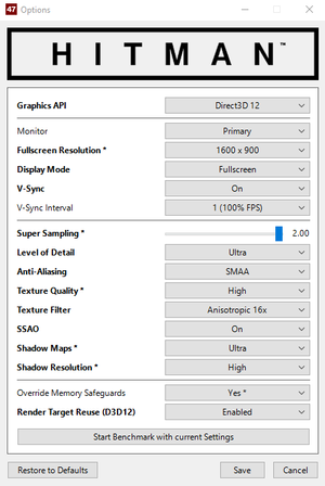External graphics settings.