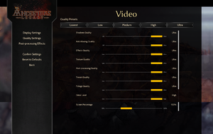 In-game video quality settings.