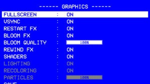 Graphics settings. Settings marked in grey are low-end options that will negatively impact the graphics but significantly increase performance.