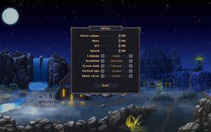 Main options menu.