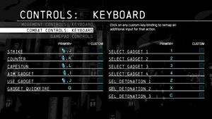 Keyboard combat configuration.