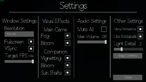 General settings in-game.
