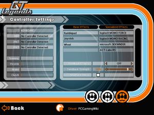 Force feedback settings.