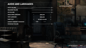 In-game audio settings (Steam version).