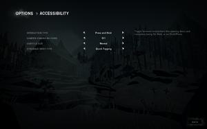 Accessibility settings.