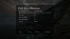 Keyboard mapping settings.
