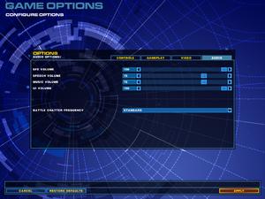 In-game audio settings.