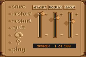 In-game options menu (1992 VGA remake).