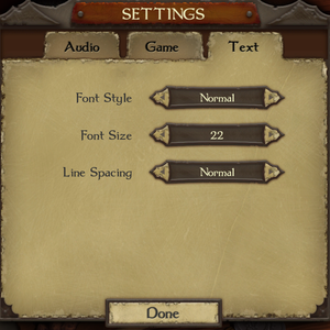 Text settings.
