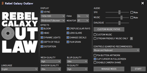 Game launcher settings.