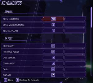 Keybindings settings