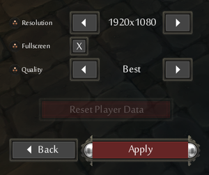 General settings from main menu.