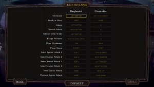 Key/button bindings menu