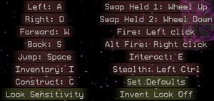 Input and keybinding settings.