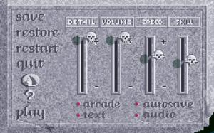 In-game options menu (CD version).