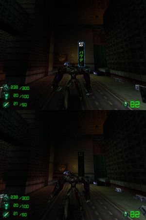 The crosshair on higher resolutions gets misaligned. Top image is at 640x480 (correct position), while the bottom image is at 1280x960 (misaligned).