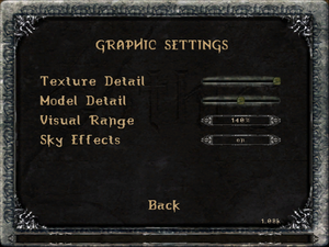 Graphic settings.