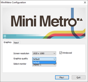 Unity launcher accessed by holding ⇧ Shift. Game will ignore any changes outside monitor selection.