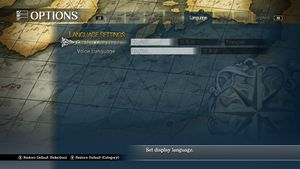 In-game localization options.