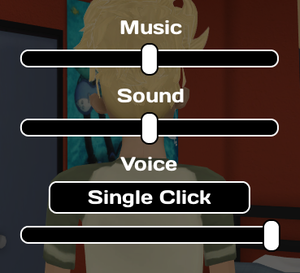 Audio settings from pause menu.