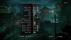 Default remappable controls menu.