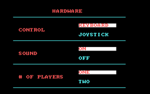 In-game options menu (CGA version).