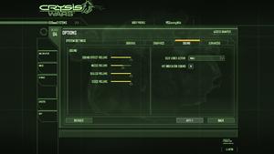 In-game audio settings (Crysis Wars).