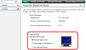 GPU scaling settings for AMD/ATI cards.