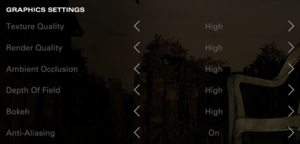 Definitive Menu graphics settings.