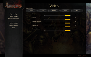 In-game post-processing effects settings.