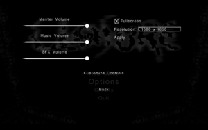 In-game options menu