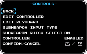 Relic (in-game item) use can be either dedicated button or Up+Attack making it compatible with more controllers including NES Controller. Can be changed per campaing.