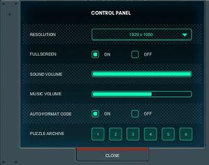 In-game settings menu.