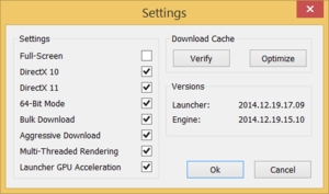 Launcher settings, found by clicking the gear icon in the top-right.