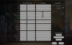 Keyboard control defaults.