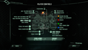 In-game gamepad layout settings for the player.