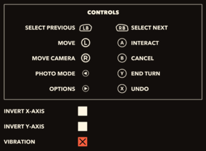 In-game input settings (Xbox controller).