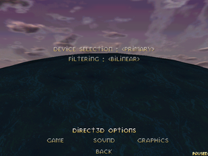 In-game Direct3D settings (only when running the game with hardware acceleration).