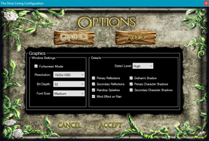 Launcher graphics settings accessed through <path-to-game>\TSLConfig.exe.