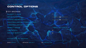 Input settings (single player).