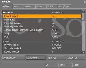 In-game key binding options.