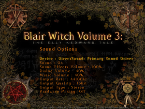 Sound options menu.