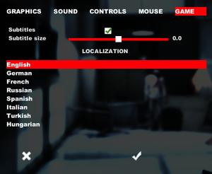 In-game language & subtitle settings.