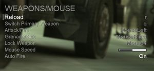 In-game remap settings (Weapons/Mouse).